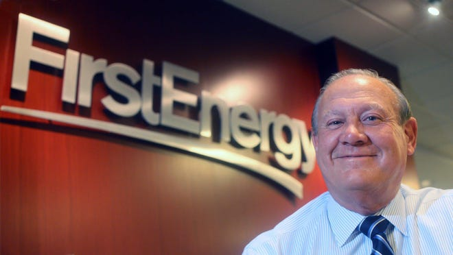 "FirstEnergy Corp. President and CEO Charles ""Chuck"" Jones appears at the company headquarters in February 2015 in Akron. The company's stock value has dropped by one-third in the two days since federal investigators announced arrests in a bribery scheme tied to passage of a nuclear plant bailout bill."