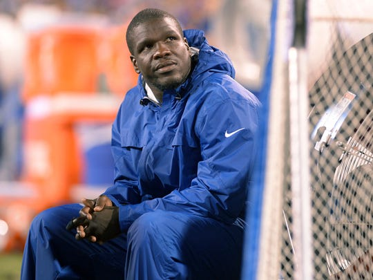 Indianapolis Colts running back Frank Gore watches from the sideline during the second half of a preseason NFL football game against the Buffalo Bills Saturday, Aug. 13, 2016, in Orchard Park, N.Y.