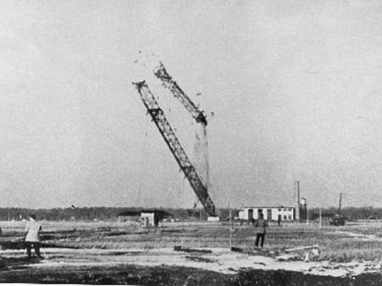 The demolition of the Tuckerton Tower in 1955.