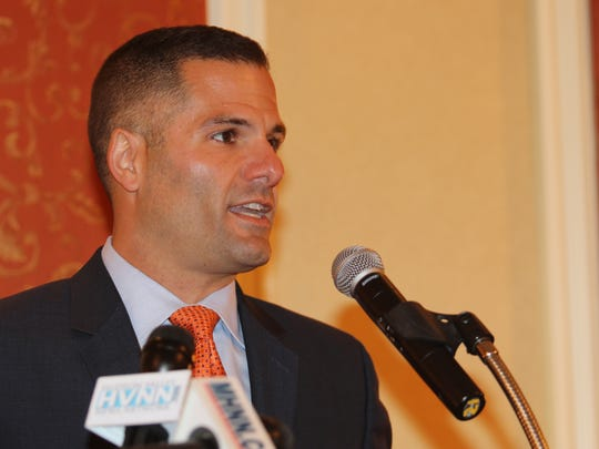 Dutchess County Executive Marc Molinaro speaks during a Dutchess County Regional Chamber of Commerce breakfast held in the City of Poughkeepsie on Wednesday.
