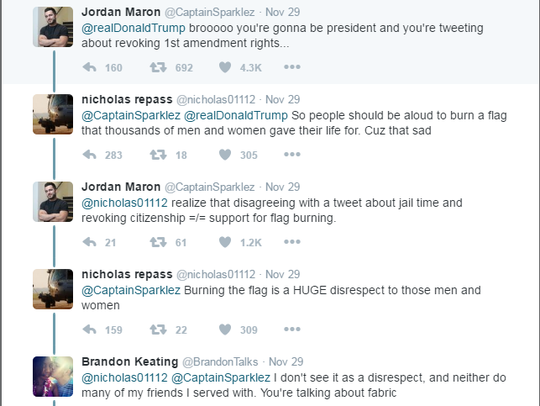 Screenshot of a conversation following a tweet by President-elect