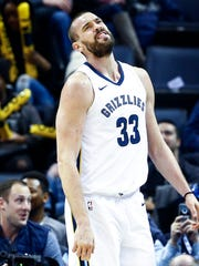 Memphis Grizzlies center Marc Gasol reacts after being