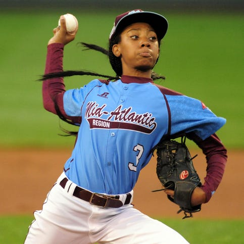 Aug 20, 2014; South Williamsport, PA, USA; Mid-Atlantic Region pitcher Mo'ne Davis (3) throws a pitch in the first inning against the West Region at Lamade Stadium. Mandatory Credit: Evan Habeeb-USA TODAY Sports