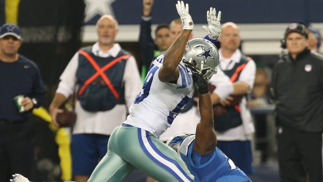 Anthony Hitchens of the Dallas Cowboys was initially called for pass interference while defending the Detroit Lions' Brandon Pettigrew in the fourth quarter, but the call was eventually overturned.