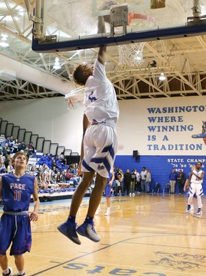 Michael Randolph Jr.'s dunk in the second quarter of Tuesday's game vs. Pace lifted to him to more than 1,000 career points. Washington won 66-57.