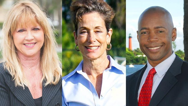 Former Palm Beach County Commissioner Karen Marcus, left, Palm Beach Gardens Council member Maria Marino and former Tequesta Council member Calvin Turnquest are vying for the Republican nomination in the County Commission District 1 race.