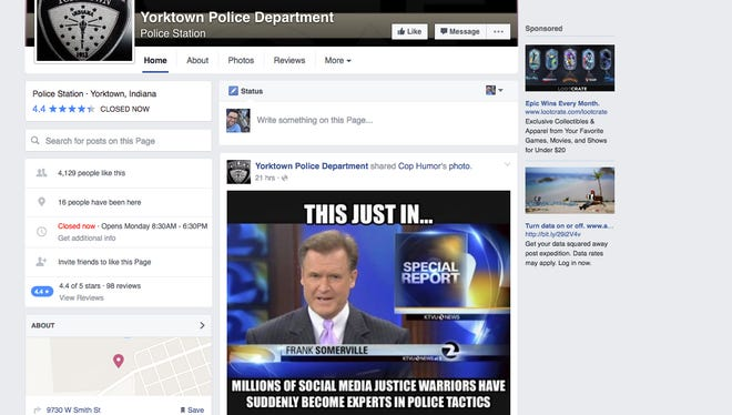 """A screen grab taken of Yorktown Police Department's Facebook page taken Friday morning shows a post by """"Cop Humor"""" shared to the police department's page."""