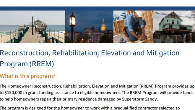 A screenshot of the state's website for the RREM program.
