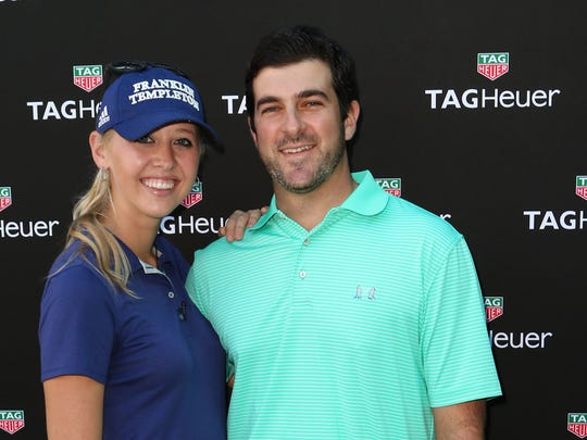 "Pro golfer Jessica Korda (L) and Johnny DelPrete (R) attend Tag Heuer And Golf Digest Host ""The Jessica Korda Mall Challenge"" at Miami Design District Palm Court on January 16, 2016 in Miami, Florida.  (Photo by Alexander Tamargo/Getty Images for Tag Heuer)"