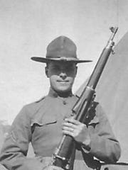 Randolph Covington's grandfather, a member of the 107th New York Infantry, during training at Spartanburg, S.C. 1917.