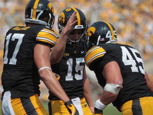 Mark Weisman Jake Rudock Iowa Hawkeyes 2014