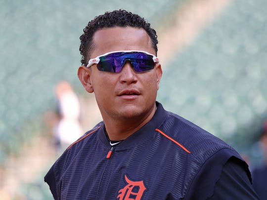 Tigers first baseman Miguel Cabrera (24) looks on prior to the game against the Baltimore Orioles on Friday, Aug. 4, 2017, in Baltimore.