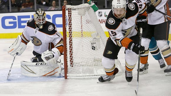 Anaheim Ducks defenseman Sami Vatanen (45), from Finland,