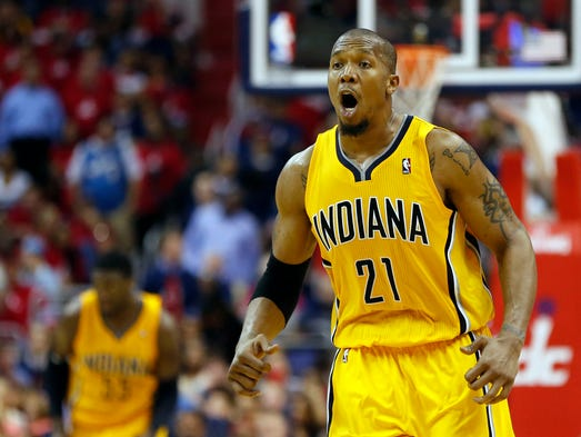 Game 6 in Washington -- Pacers 93, Wizards 80: David West celebrates as the final seconds wind down on Indiana's series-clinching victory.