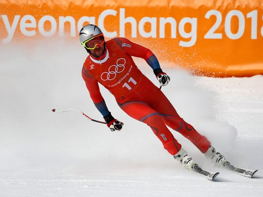 Norway's Aksel Lund Svindal finishes a men's downhill training run at the 2018 Winter Olympics in Jeongseon, South Korea, Saturday, Feb. 10, 2018. (AP Photo/Christophe Ena)