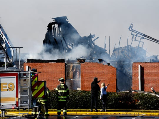 First Baptist Bossier on fire Monday morning, December 10, 2018. The fire is centered on an older part of the church campus that houses a daycare center and the Faith Chapel, although church representatives and city officials say they believe no one was inside when the fire started.