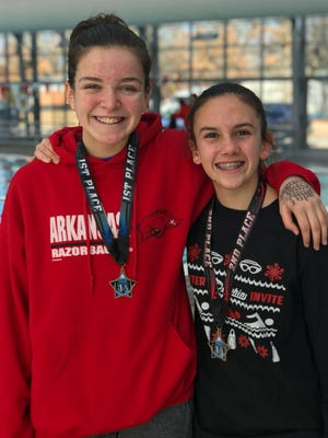 Mountain Home's Maddy Lynch (left) was the high-point champion for 14-and-under girls at the Pocahontas meet Saturday. Teammate Sierra Trogdon (right) was the 12-and-under girls high-point runner-up.