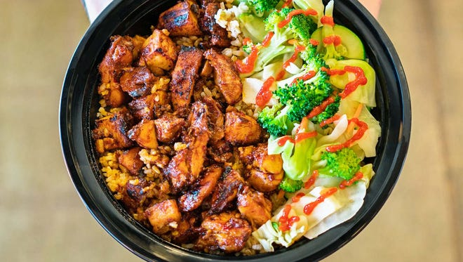The spicy chicken bowl at Teriyaki Madness.