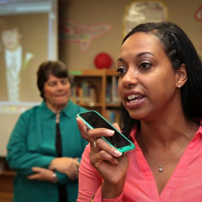 Scales Elementary Principal Maria Johnson speaks by