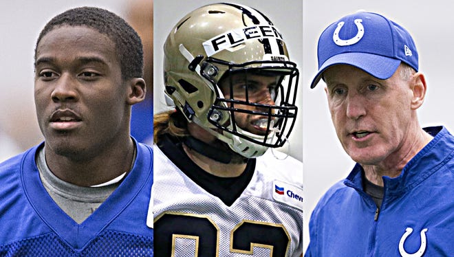 While Phillip Dorsett (left) and Joe Philbin (right) figure to play major roles on the Colts' offense this spring, Coby Fleener will be missed.