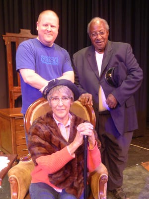 "Jane E. Ballurio as Miss Daisy Werthan, John Craft as Boolie Werthan and Tommy Crawford as Hoke Colburn in the ShenanArts production of ""Driving Miss Daisy."""
