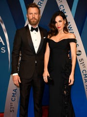 Dierks Bentley and wife Cassdy on the red carpet at Music City Center before the start of the 51st annual CMA Awards Wednesday, Nov. 8, 2017 in Nashville, Tenn.