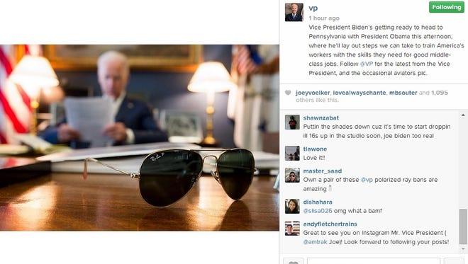 Vice President Biden joined Instagram Wednesday.