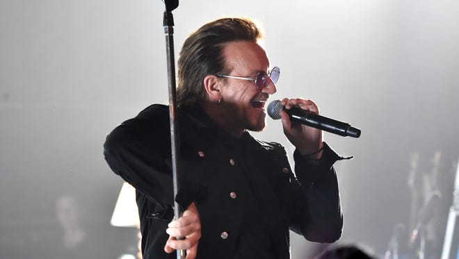 Bono of U2 performs onstage at the Apollo Theater on June 11, 2018 in New York City.