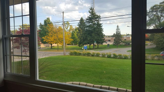 The view of the green space from Michael Shada's living room window.