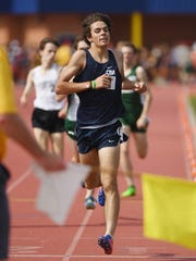 """Day 1 of State Track Championships at Franklin High School in Somerset on Friday, June 1, 2018. CBA""""s Tim McInerney in the Non-Public A boys 1600."""