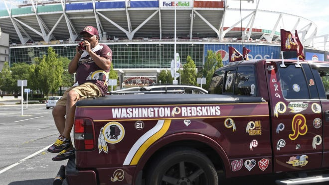 It's easy to tell which side of the debate included Virginia resident Rodney Johnson, seen Monday in front of FedEx Field in Landover, Maryland.