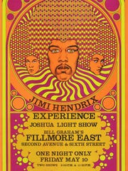 'The Jimi Hendrix Experience, 1967' is probably designed by Fantasy Unlimited. Offset lithograph.
