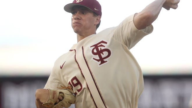 FSU's Austin Pollock pitches against Jacksonville at Dick Howser Stadium on Wednesday, May 9, 2018.