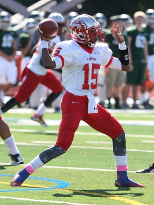 Action photos from the Perth Amboy High School at St. Joseph football game held at St. Joseph's new turf field in Metuhen on Saturday October 10, 2015.