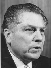 Jimmy Hoffa is shown in this 1975 file photo. Hoffa, father of current Teamsters President James P. Hoffa, disappeared from the parking lot of the Machus Red Fox restaurant in Oakland County's Bloomfield Township in July 1975.