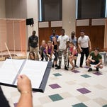 "Aaron McKenzie, playing Riff, rehearses with other members of Glow Lyric Theatre for their production of ""West Side Story"" inside Harper Hall at Furman University on Tuesday, July 19, 2016."