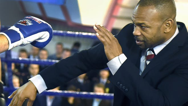 Pensacola native Roy Jones Jr. shows off some moves at a boxing event in Russia in 2015. Jones Jr. will fight at Island Fights 46 on Feb. 8 in Pensacola.