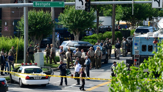 Police secure the scene of a shooting at an office building housing The Capital Gazette newspaper in Annapolis, Maryland, on Thursday, June 28, 2018.