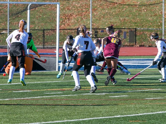 Whitney Point's Elaina Burchell scores the opening goal of a Class C state semifinal Saturday at Maine-Endwell. Whitney Point won, 9-0.