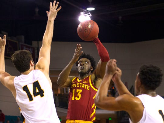 Iowa State Cyclones guard Jakolby Long (13) shoots