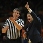 Feb 17, 2015; Knoxville, TN, USA; Kentucky Wildcats head coach John Calipari speaks to an official during the game against the Tennessee Volunteers at Thompson-Boling Arena. Mandatory Credit: Randy Sartin-USA TODAY Sports