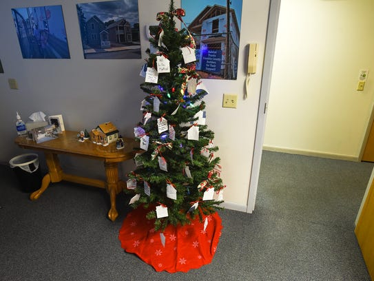 A Christmas tree stands inside the Franklin County