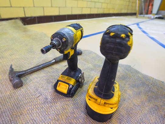 Tools are seen inside Gym 1 at Eugene C. Clarke Jr.