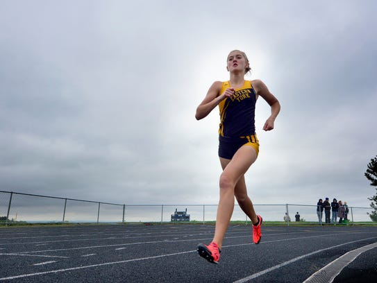 Maddie McLain of Eastern York holds a comfortable lead