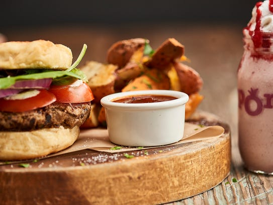 The vegan Pom Burger at Pomegranate Cafe.