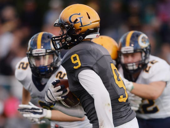 Grand Ledge's Cal Johnston (9), who is being recruited