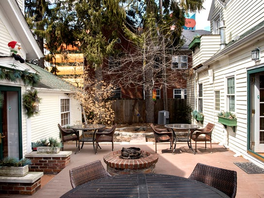 The private patio that joins the two building at the