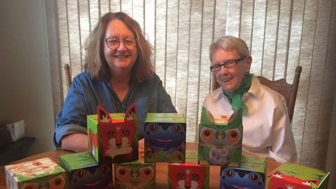 Barb Luhring, left, of Sister Bay and her 85-year-old mother, Alice Baryenbruch of Suamico, created the Sniffles Pals facial tissues that are sold in animal-themed boxes. Featuring a fox, frog or owl, Sniffles Pals is available at all Festival Foods stores in Wisconsin as well as locations in Door County and online.