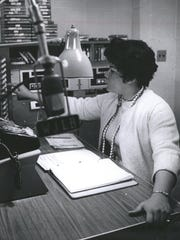 Martha Jean (The Queen) Steinberg is pictured here at WJLB, one of Detroit's black-oriented stations in March of 1967.