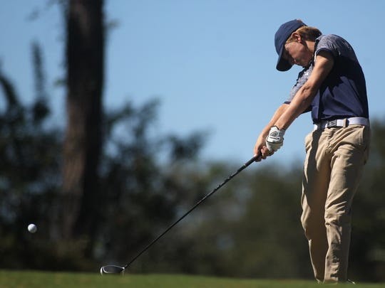Aucilla Christian's Ryan Jackson hits a drive during the Region 1-1A boys golf tournament at Seminole Golf Course, Tuesday, Oct. 24, 2017.